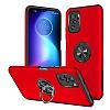 Eiroo Stand Hybrid Xiaomi Redmi Note 10S Kırmızı Silikon Kılıf