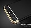 Eiroo Trio Fit Huawei P10 3ü 1 Arada Gold Kenarlı Siyah Rubber Kılıf - Resim 3