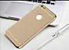 Eiroo Trio Fit iPhone 6 / 6S 3ü 1 Arada Gold Kenarlı Gold Rubber Kılıf - Resim 5