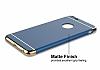Eiroo Trio Fit iPhone 6 / 6S 3ü 1 Arada Gold Kenarlı Lacivert Rubber Kılıf - Resim 4