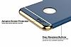 Eiroo Trio Fit iPhone 6 / 6S 3ü 1 Arada Gold Kenarlı Lacivert Rubber Kılıf - Resim 3