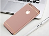Eiroo Trio Fit iPhone 6 / 6S 3ü 1 Arada Gold Kenarlı Rose Gold Rubber Kılıf - Resim 6