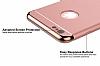 Eiroo Trio Fit iPhone 6 / 6S 3ü 1 Arada Gold Kenarlı Rose Gold Rubber Kılıf - Resim 3