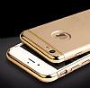 Eiroo Trio Fit iPhone 6 / 6S 3ü 1 Arada Gold Kenarlı Siyah Rubber Kılıf - Resim 6