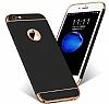 Eiroo Trio Fit iPhone 6 / 6S 3ü 1 Arada Gold Kenarlı Siyah Rubber Kılıf - Resim 2