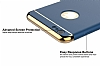 Eiroo Trio Fit iPhone 6 Plus / 6S Plus 3ü 1 Arada Gold Kenarlı Lacivert Rubber Kılıf - Resim 3