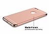 Eiroo Trio Fit iPhone 6 Plus / 6S Plus 3ü 1 Arada Gold Kenarlı Rose Gold Rubber Kılıf - Resim 4