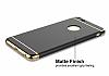 Eiroo Trio Fit iPhone 6 Plus / 6S Plus 3ü 1 Arada Gold Kenarlı Siyah Rubber Kılıf - Resim 4