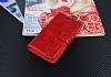 Eiroo Vodafone Smart 6 Prime Cüzdanlı Yan Kapaklı Kırmızı Deri Kılıf - Resim 3