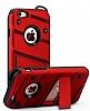 Eiroo Zag Armor iPhone 6 / 6S Standlı Ultra Koruma Kırmızı Kılıf - Resim 4
