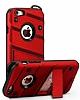 Eiroo Zag Armor iPhone 7 Standlı Ultra Koruma Kırmızı Kılıf - Resim 4