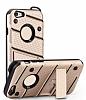 Eiroo Zag Armor iPhone SE / 5 / 5S Standlı Ultra Koruma Gold Kılıf - Resim 4