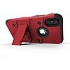 Eiroo Zag Armor iPhone X Standlı Ultra Koruma Kırmızı Kılıf - Resim 3
