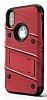 Eiroo Zag Armor iPhone X Standlı Ultra Koruma Kırmızı Kılıf - Resim 5