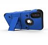 Eiroo Zag Armor iPhone X Standlı Ultra Koruma Lacivert Kılıf - Resim 3