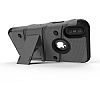 Eiroo Zag Armor iPhone X Standlı Ultra Koruma Silver Kılıf - Resim 2