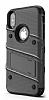 Eiroo Zag Armor iPhone X Standlı Ultra Koruma Silver Kılıf - Resim 4