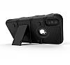Eiroo Zag Armor iPhone X Standlı Ultra Koruma Siyah Kılıf - Resim 3