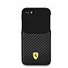 Ferrari iPhone 6 / 6S / 7 / 8 Gerçek Deri Karbon Siyah Rubber Kılıf - Resim 2