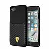 Ferrari iPhone 6 / 6S / 7 / 8 Gerçek Deri Karbon Siyah Rubber Kılıf - Resim 4