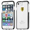 Ferrari iPhone 7 / 8 Ultra Koruma Silikon Kenarlı Şeffaf Siyah Kılıf - Resim 1