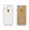 Ferrari iPhone 7 / 8 Ultra Koruma Silikon Kenarlı Şeffaf Beyaz Kılıf - Resim 2