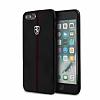 Ferrari iPhone 6 Plus / 6S Plus / 7 Plus / 8 Plus Gerçek Deri Siyah Rubber Kılıf - Resim 5
