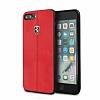 Ferrari iPhone 6 Plus / 6S Plus / 7 Plus / 8 Plus Gerçek Deri Kırmızı Rubber Kılıf - Resim 5