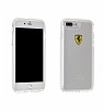 Ferrari iPhone 7 Plus / 8 Plus Ultra Koruma Silikon Kenarlı Şeffaf Beyaz Kılıf - Resim 3