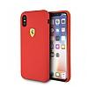 Ferrari iPhone X Kırmızı Silikon Kılıf - Resim 1