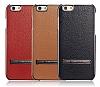 G-Case iPhone 6 / 6S Rose Gold Kenarlı Standlı Deri Siyah Rubber Kılıf - Resim 4