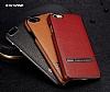 G-Case iPhone 6 / 6S Rose Gold Kenarlı Standlı Deri Siyah Rubber Kılıf - Resim 3