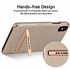 G-Case iPhone X Standlı Deri Gold Rubber Kılıf - Resim 2