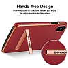 G-Case iPhone X Standlı Deri Kırmızı Rubber Kılıf - Resim 2