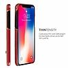G-Case iPhone X Standlı Deri Kırmızı Rubber Kılıf - Resim 1