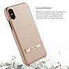 G-Case iPhone X Standlı Deri Gold Rubber Kılıf - Resim 3