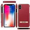 G-Case iPhone X Standlı Deri Kırmızı Rubber Kılıf - Resim 4