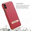 G-Case iPhone X Standlı Deri Kırmızı Rubber Kılıf - Resim 3