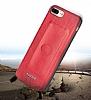 G-Case Majesty Series iPhone X Deri Kırmızı Rubber Kılıf - Resim 3