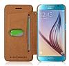 G-Case Samsung Galaxy S6 Edge Plus Kapaklı Kahverengi Deri Kılıf - Resim 4