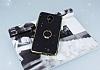 General Mobile GM 5 Plus Selfie Yüzüklü Simli Siyah Silikon Kılıf - Resim 2