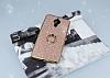 General Mobile GM 5 Plus Selfie Yüzüklü Simli Rose Gold Silikon Kılıf - Resim 3