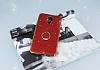 General Mobile GM 5 Plus Selfie Yüzüklü Simli Kırmızı Silikon Kılıf - Resim 3