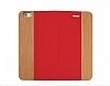 GOODEA iPhone 6 Plus / 6S Plus Ahşap Kapaklı Kırmızı Kılıf - Resim 2