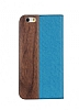 GOODEA iPhone 6 Plus / 6S Plus Ahşap Kapaklı Mavi Kılıf - Resim 1