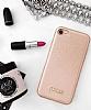 Guess iPhone 7 / 8 Rose Gold Deri Kılıf - Resim 1