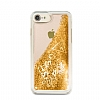 Guess Glitter iPhone 7 / 8 Simli Gold Silikon Kılıf - Resim 4