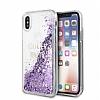 Guess Glitter iPhone X Simli Mor Silikon Kılıf - Resim 3