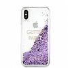 Guess Glitter iPhone X Simli Mor Silikon Kılıf - Resim 2