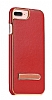 Hoco iPhone 7 Plus / 8 Plus Standlı Deri Kırmızı Rubber Kılıf - Resim 5